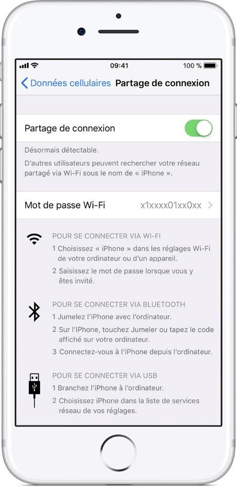 partage connexion iphone